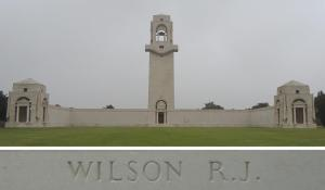 Private Wilson's name on the Villers-Bretonneux Memorial, France (Photograph: S. & H. Thompson 7/9/2014)