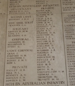 T. Jackson's name on the Menin Gate Memorial (Photograph: S. & H. Thompson 11/9/2012)