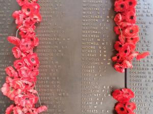 W. H. Nicholls' name on the Australian War Memorial Roll of Honour (Photograph: S. &. H. Thompson 5/1/2015)