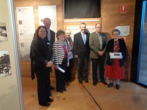 Gilgandra Shire Council Cultural Officer Kylie Moppett, Acting Mayor Cr. Ashley Walker, Gilgandra Museum & Historical Society curator Shirley Marks, Gilgandra Museum & Historical Society member Margo Piggott, Member for Parkes Mark Coulton, and Graeme Hosken and Mrs Imelda Silva. (Photograph: H. Thompson)