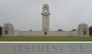 Private Stephen's name on the Villers-Bretonneux Memorial, France (Photograph: S. & H. Thompson 7/9/2014)