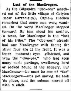 'Last of the MacGregors' (The Inverell Times 19/11/1915)