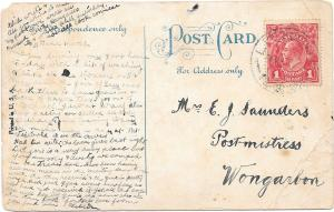 Back of postcard sent by W. H. Saunders to his mother, courtesy of Mrs K. Edmonds