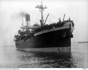 Photograph of HMAT A71 Nestor loaded with troops on an earlier voyage, taken 11 October 1915.  Part of the Australian War Memorial Collection. PB0607.