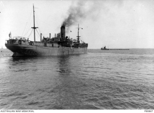 HMAT A17 Port Lincoln on a later voyage. Part of the Australian War Memorial collection. PB0867.