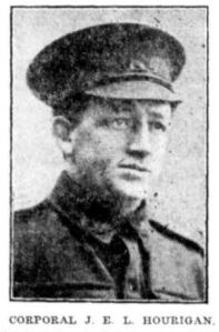 Corporal J. E. L. Hourigan (Cumberland Argus and Fruitgrowers Advocate 12/8/1916)