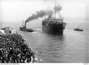 HMAT Orsova A67 leaving Melbourne 1 August 1916. Part of the Australian War Memorial collection. PB0663.