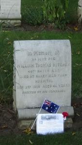 Australian flag and commemorative card on Bill Hitchen's grave 26/8/2016 (Photograph S. & H.  Thompson)
