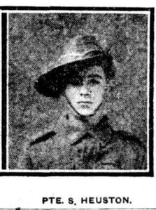 Pte. S. Heuston (The Globe and Sunday Times War Pictorial, 14/10/1916)