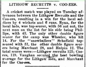 'Lithgow Recruits v. Coo-ees', Lithgow Mercury, 15 November 1915, p. 2
