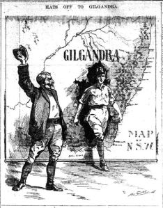 'Hats off to Gilgandra', cartoon by Hal Eyre (The Daily Telegraph, 16/10/1915)
