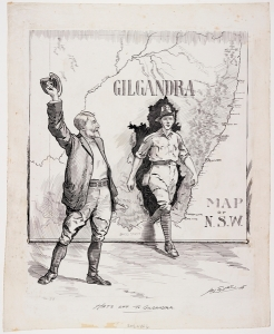 'Hats off to Gilgandra', cartoon by Hal Eyre, in the Mitchell Library collection, State Library of New South Wales, a5773062.