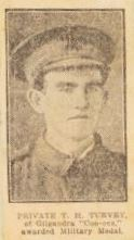 "Private T. H. Turvey, of Gilgandra ""Coo-ees"", awarded Military Medal (Newspaper unknown, 1917)"